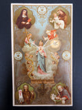 Antique Holy Card Canivet, Notre Dame of 3 Ave Maria, St Mechtildis, Antonius &