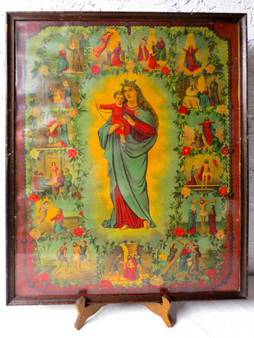 Antique Religious Chromolithograph Our Lady of Rosary by Madonna V Rosenkranz