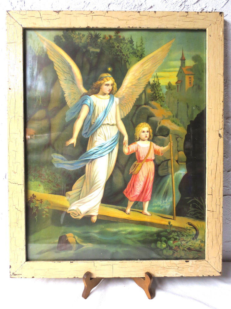 Antique Religious Chromolithograph, Angel Guiding Jesus through Forest, Snake