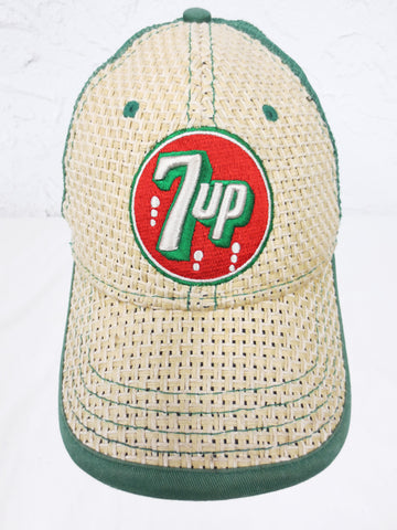 Vintage 7-UP Baseball Cap Size Large, 7up Crest Emblem Front and Back, Green Red