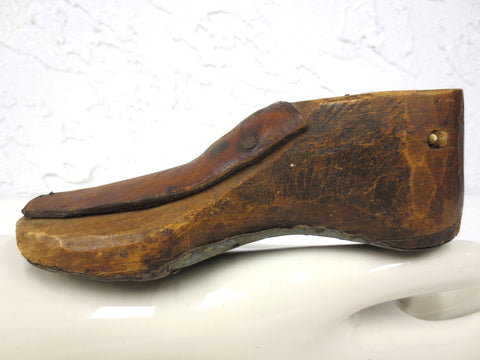 Antique Primitive Child Wood Shoe Form with Original Leather, Metal Sole Plate