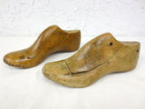 Antique Primitive Women Wood Shoe Form Matching Pair, Shoemaker's Shoe Mold 9.5""