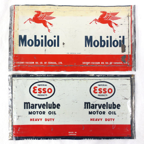 Vintage Mobiloil Pegasus and Esso Marvelube Heavy Duty Motor Oil Cans 1 Quart