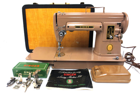 Vintage Singer 301A Industrial Portable Sewing Machine w/ Pedal, Case & Manual