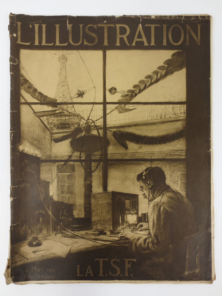 Antique 1923 Paris Newspaper L'Illustration, La TSF, Eiffel Tower, Advertising