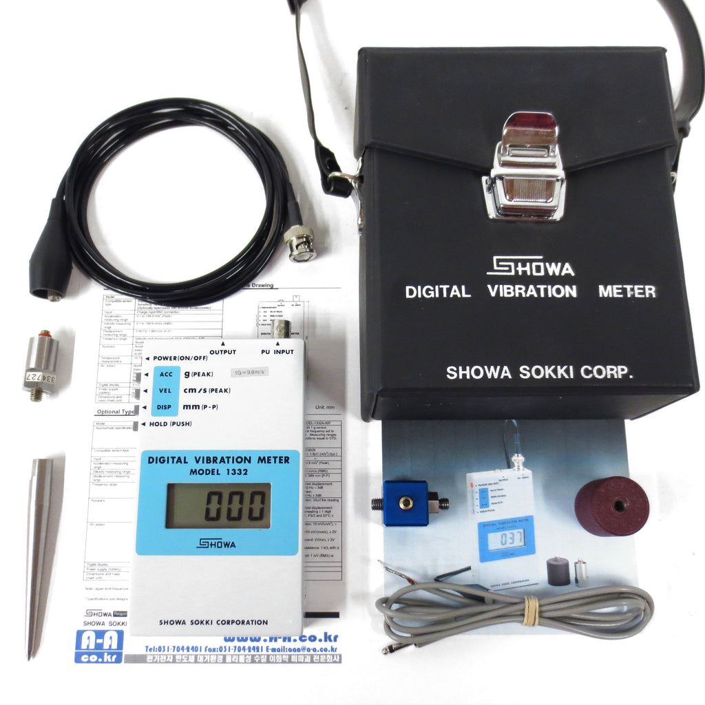 New Digital Vibration Meter 1332 Instrument by Showa Sokki Japan w/ Accessories