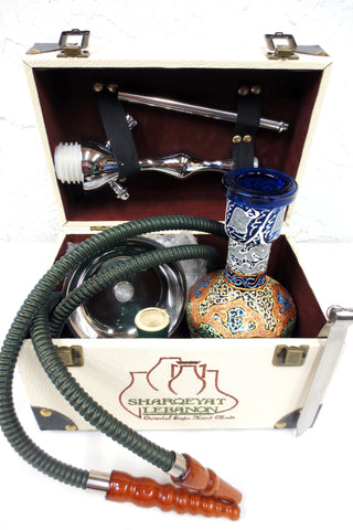 "Shisha Nargile Hookah 18"" Tobacco Water Pipe Vase Set, Luxury Sharqeyat Handmade Box"