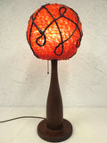 "Vintage Mid Century Orange 24"" Lucite Wood Table Lamp, Lucite Spaghetti Bowling"