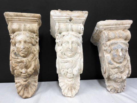 "3 Antique Plaster Corbels Long Hair Ladies with Roses 10"", Architectural Salvage"