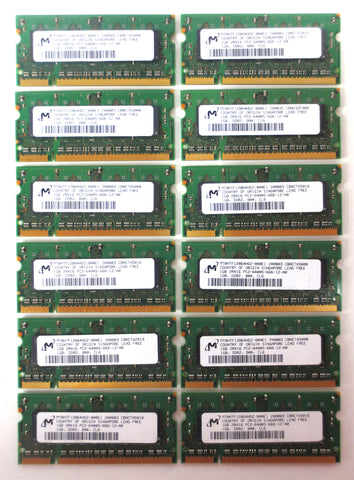 New 12GB 12x1GB Memory RAM by Micron DDR2 DIMM 800MHz PC2-6400S-666-12-A0