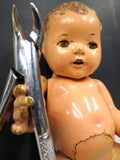 "Scary Antique Composition Doll 12"", Moving Eyelids, Articulated, Tooth Extractor"