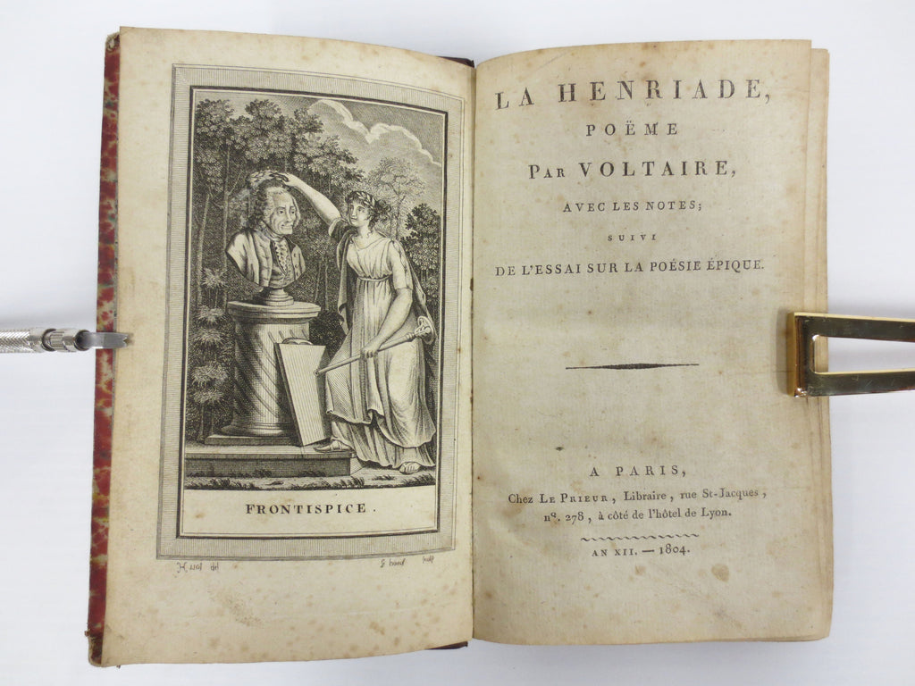 Antique 1804 Voltaire La Henriade Poetry Book, Litho Engravings by LeBoeuf, Paris