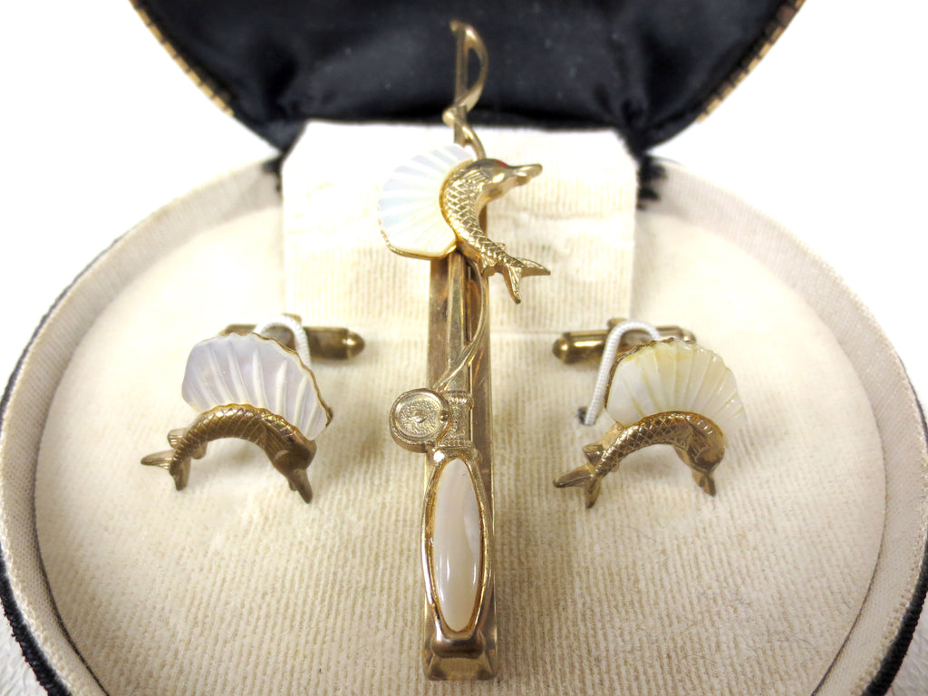 Vintage Swordfish Cufflinks & Fishing Rod Tie Clip, Smith & Bond Sterling Silver