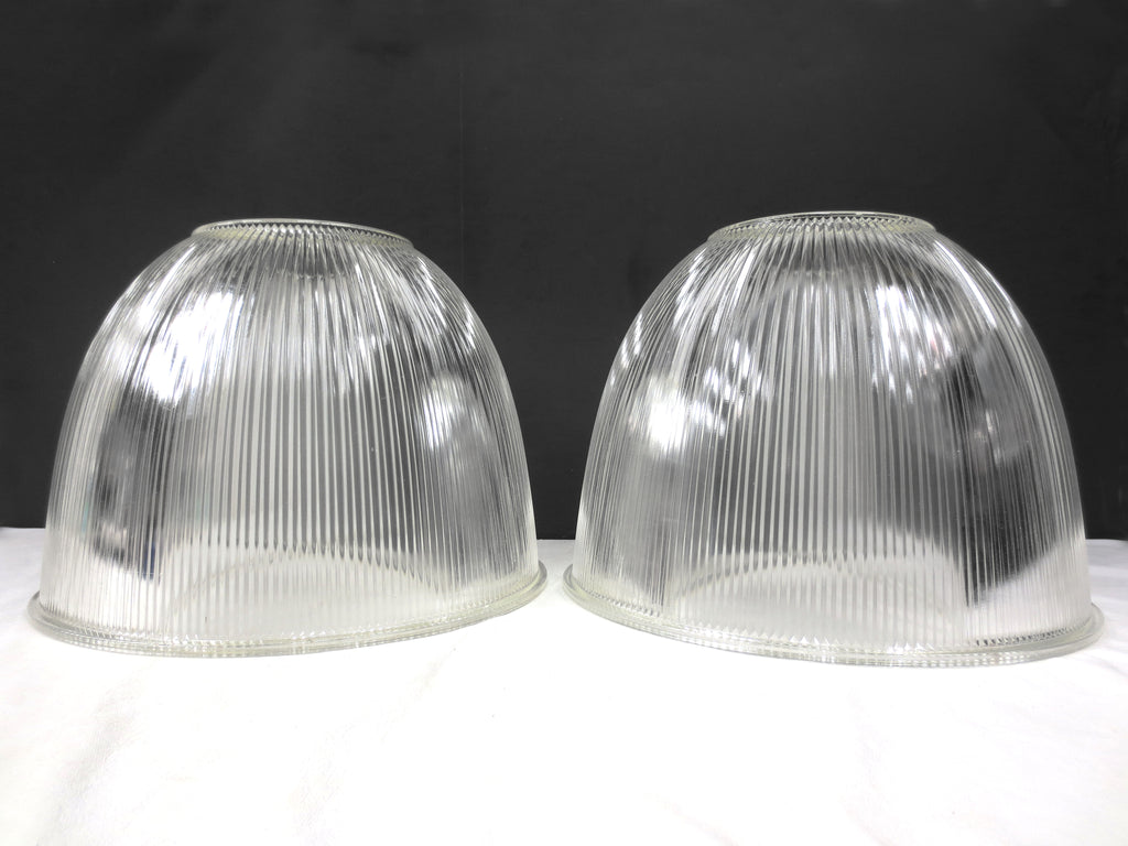 "Holophane Glass Light Shades Fixtures 15"" Dia, Rippled Glass Domes, Industrial"