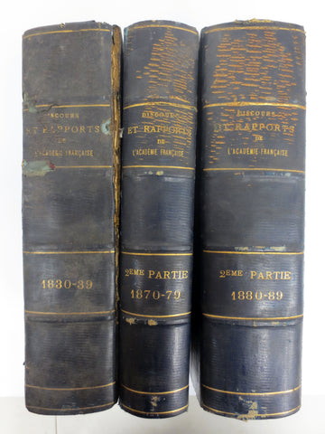 Antique 1800's French Academy Speeches Reports & Letters by Famous Authors Lamartine, Ségur, Dumas