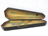 "Antique Violin Wood Case 30"" Handmade, Black Casket Funeral, Brass, Folk Art"