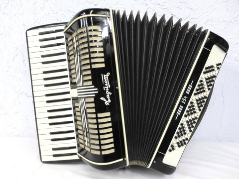 Vintage Hagstrom Sweden Piano Accordion 120 Bass 41 Keys, Black and White