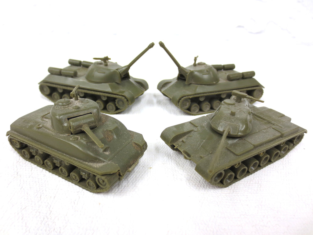 Lot of 4 Aurora WWII Army Military Mini Tanks, Toy Models, USA, Complete
