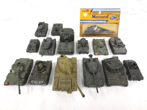 Lot of 14 DBGM ROCO WWII Army Military Mini Tanks and Cannon, Toy Model Austria
