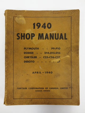 1940 Chrysler Car Shop Manual, Plymouth, Dodge, Chrysler, Desoto