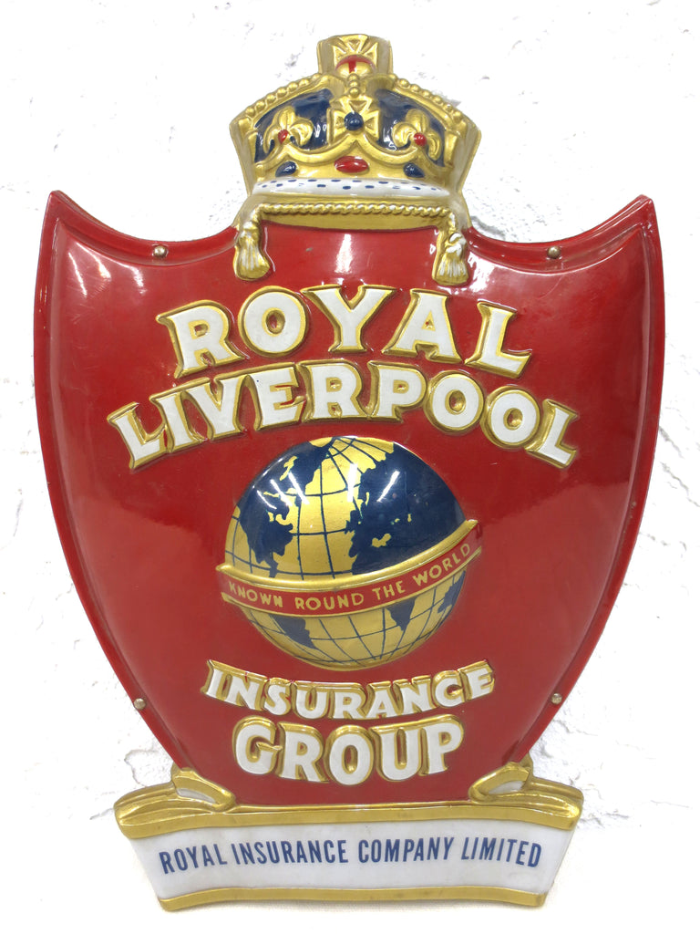 Vintage Mid Century Royal Liverpool Insurance Advertising, Crown Earth Red Hart