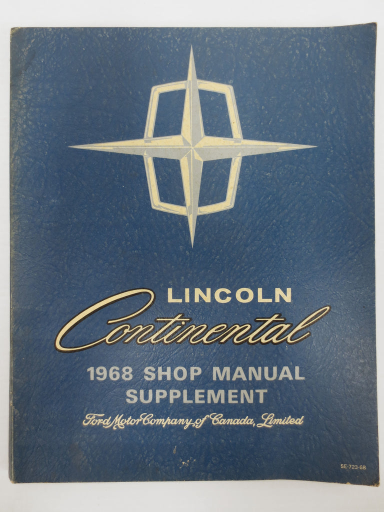 Vintage 1968 Lincoln Continental Car Shop Manual, Ford Motor Car Manual