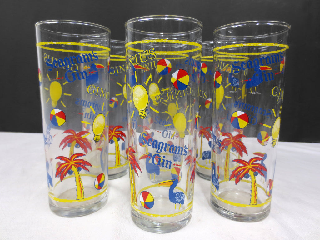"6 Vintage Seagram's Gin Highball Tall Glasses 6 3/8"", Toucan Beach Advertising"