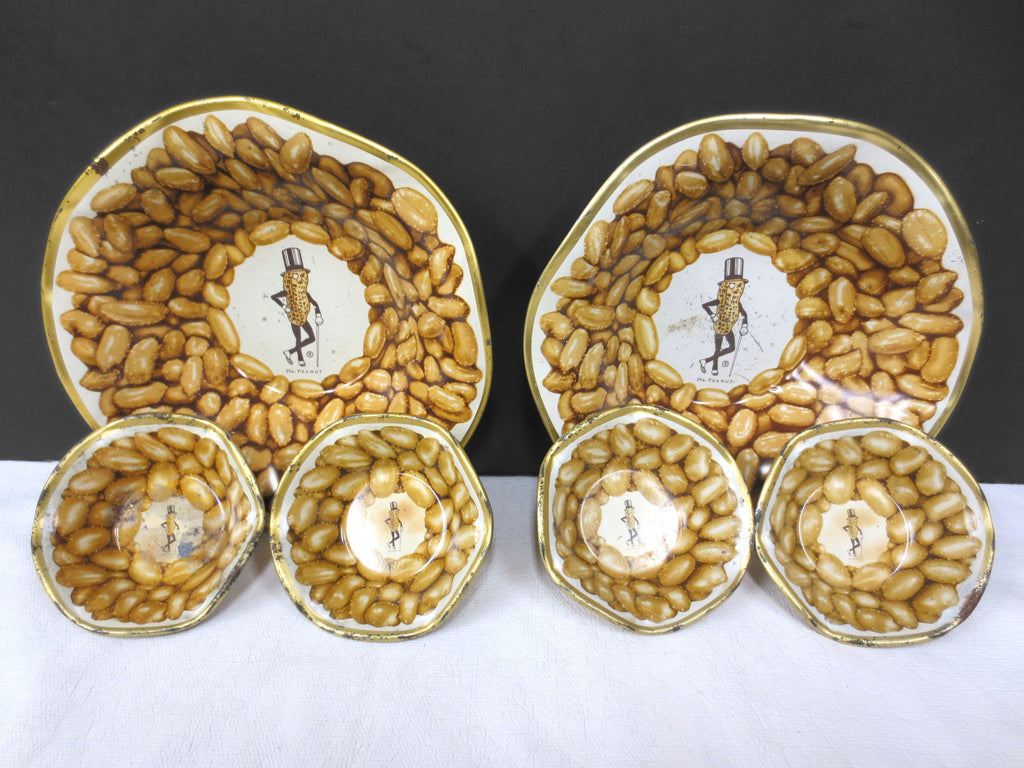 "Vintage Mr. Peanut Metal Bowls Set of 6, Peanuts Serving Plates 3"" and 6"", Tin"