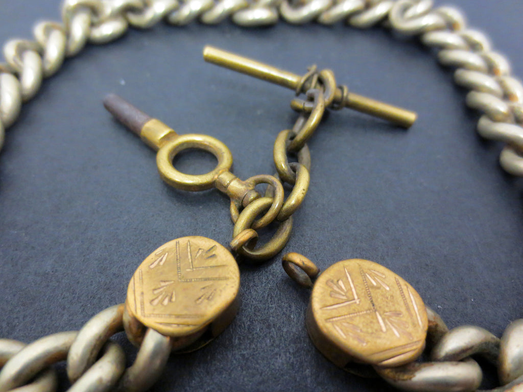 Antique Pocket Watch Brass Fob Chain with No 7 Pocket Watch Key, Ornate, 12""