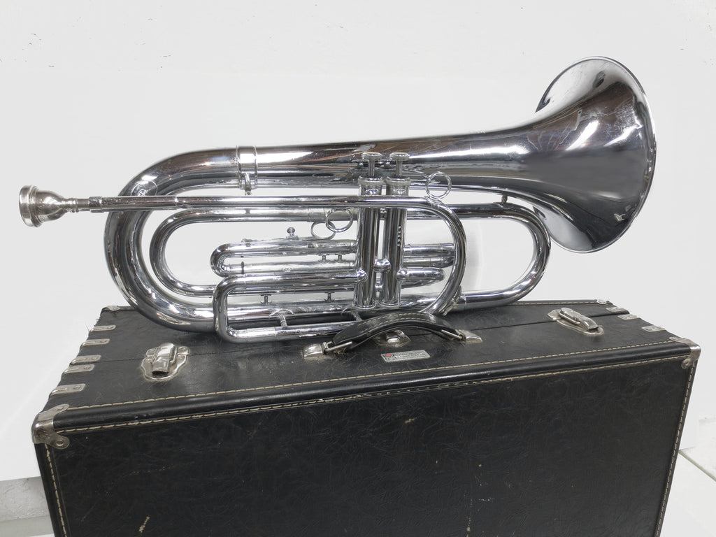 1980's Baritone Bugle Brass Horn, Dynasty II Model by DEG USA Wisconsin, With Ca