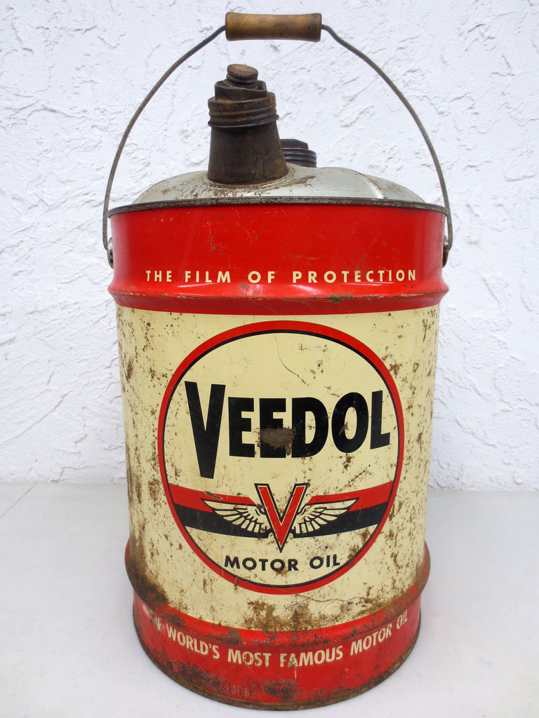 Vintage Veedol Motor Oil 5 Imperial Gallons Can, The Film of Protection, Red