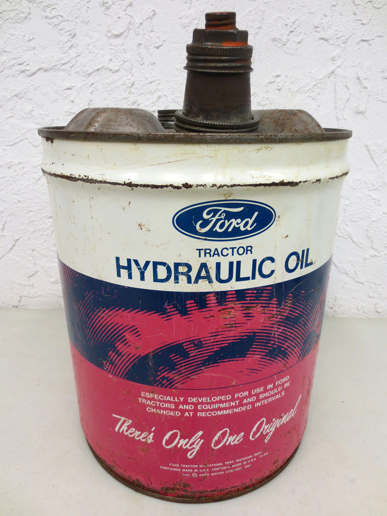 Vintage 1967 Ford Tractor Hydraulic Oil 4.16 Imperial Gallons Can, M-2C41-A