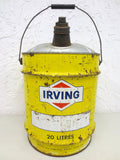 Vintage Irving Motor Oil 20 litres Yellow Can, 4.4 Gallons, Irving Canada