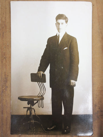 Antique 1915 Photo Postcard, Young Man Standing, Great Industrial Swivel Chair