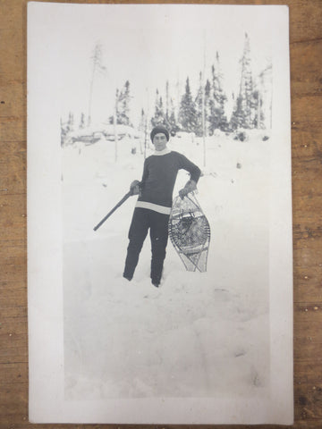 Vintage 1940's Photo Postcard Young Man Hunting with Snow Shoes, Canada, Quebec