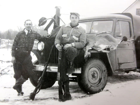 Vintage 1940's Photo of 2 Deer Hunters Sitting on Jeep in Winter, Montreal