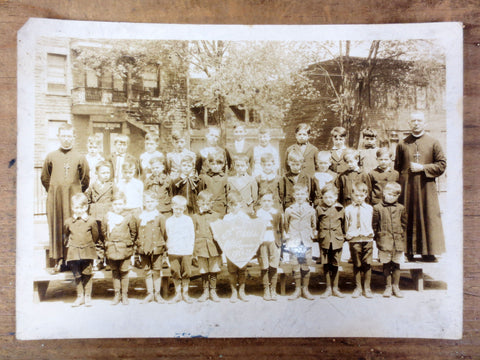 Vintage 1920's Catholic School Classroom Photo, Young Boys, Priests, Montreal