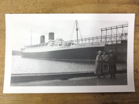 Vintage Photo of the Mauretania Ship Ocean Liner, Old Montreal Port, 2 Chimneys