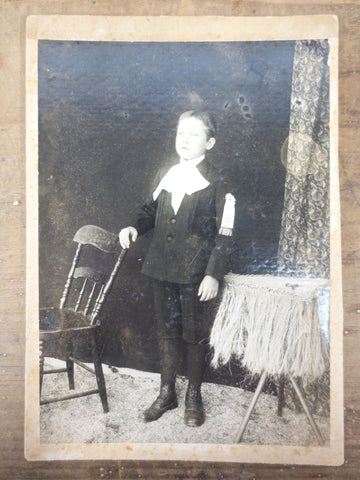 Antique 1920's Cabinet Card Photo Serious Young Boy with Medal, Montreal, Canada