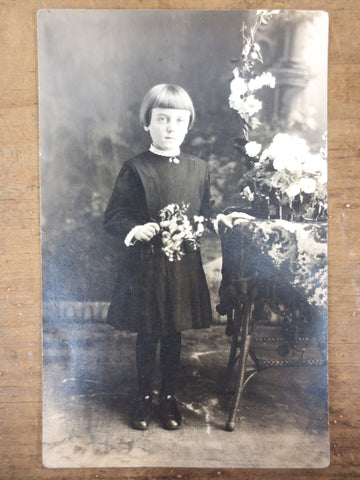 Antique 1920's Photo Postcard Serious Young Girl Holding Flowers, Montreal