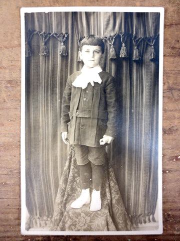 Antique 1920's Photo Postcard Serious Young Man Stage Curtains, Montreal, Canada