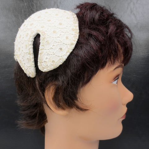 Vintage Mid Century Laced Beaded Bridal Hat Cap, Ivory Cocktail Hat, Hair String