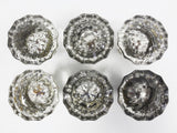 Vintage Antique Glass Door Knobs, 3 Pairs with Rods, 12 Sided Dodecagon