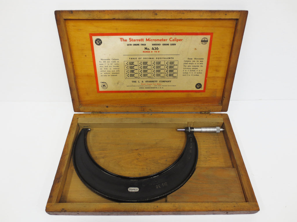 "Vintage Starrett Micrometer Caliper No. 436 Range 8-9"", Original Wood Box"
