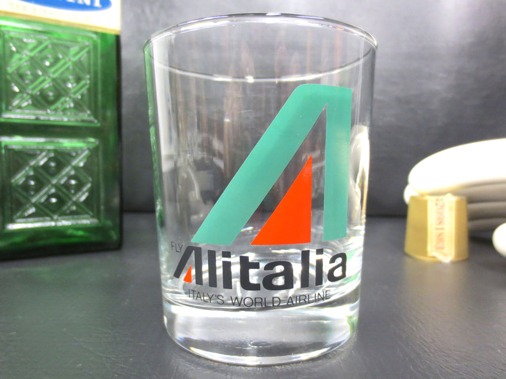 Vintage Alitalia Airlines Cocktail Glass Tumbler Advertising, Whisky Shot, Italy
