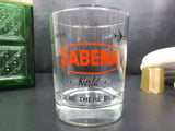 Vintage Sabena Airlines Cocktail Glass Tumbler Advertising, Whisky Shot, Belgium