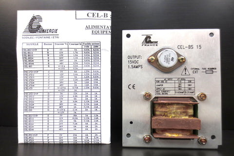 Power Supply CEL-BS 15 by Sodilec Convergie France  15Vdc 1.5Amp OUT 115/230V IN