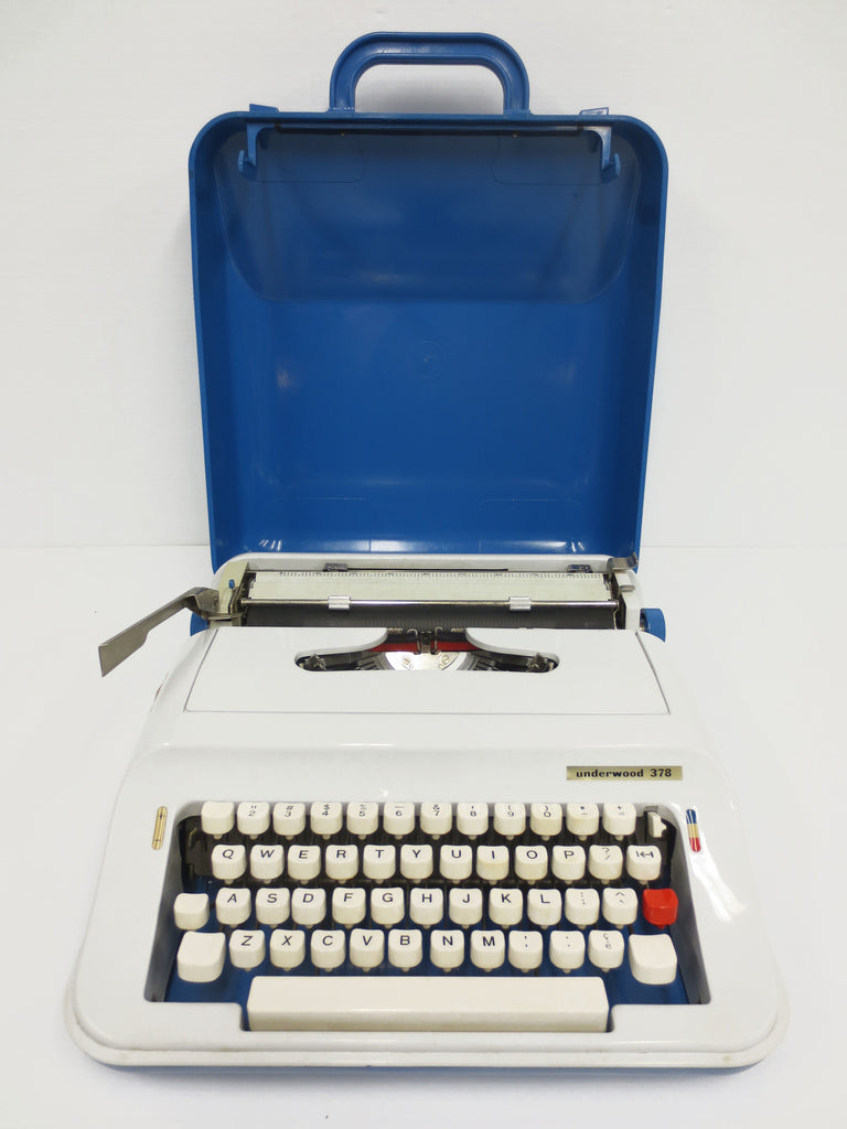 Vintage Underwood Typewriter Portable 378, Blue Case, White Keys, With Ribbon