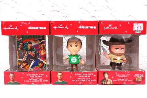 3 New Walking Dead & Big Bang Theory Hallmark Keepsake Christmas Tree Ornaments