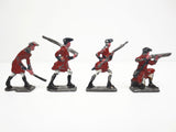 Vintage Antique Lead Toy Soldiers Shooting Muskets, Red British Army, 1 1/2""
